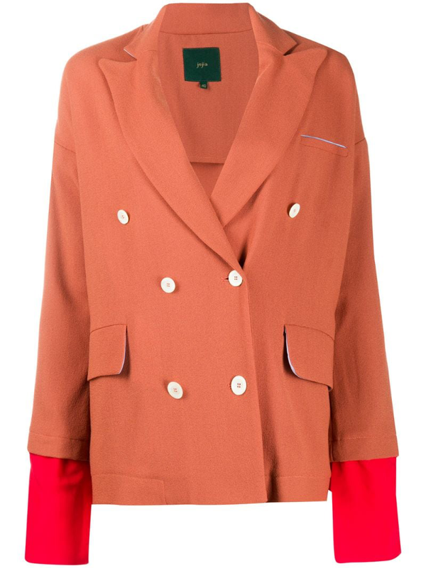 Jejia Double-breasted Layered Blazer In Orange