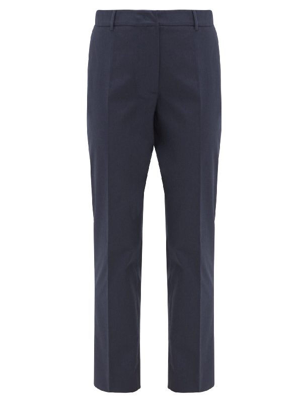 Weekend Max Mara Max Mara Weekend Osella Blend Cotton Trousers In Navy