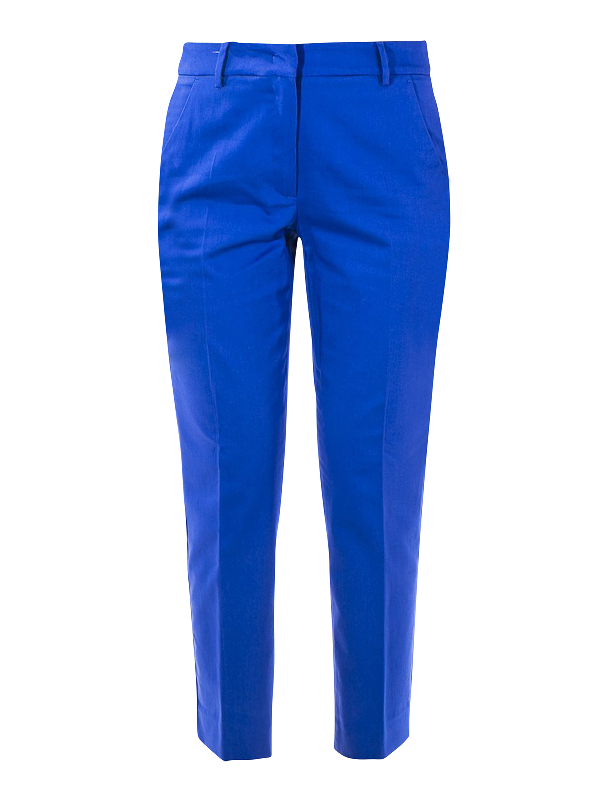 Weekend Max Mara Max Mara Weekend Novak Blend Cotton Trousers In Dark Blue