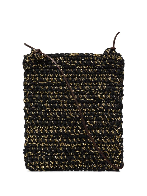 Nicholas Daley Woven-style Crochet Shoulder Bag In Black