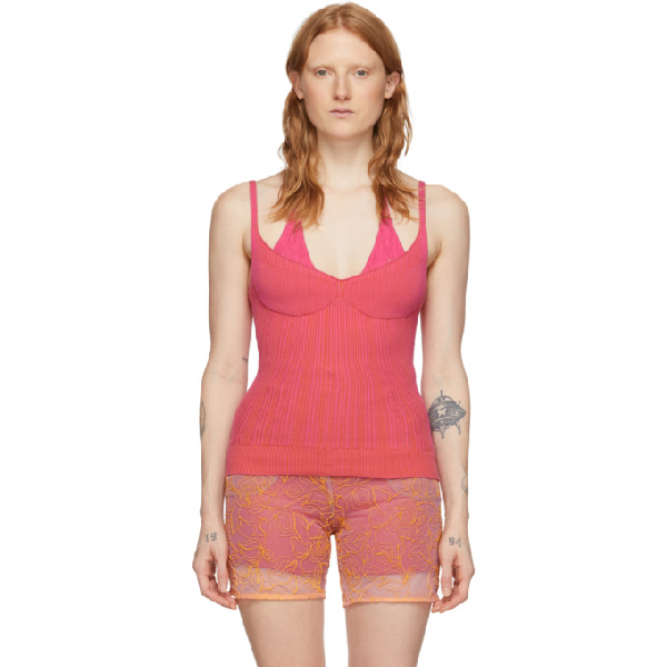 Jacquemus La Maille Valensole Knitted Top In Pink In Pink Strip