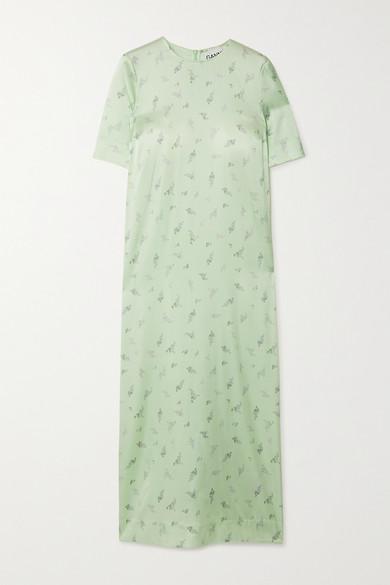 Ganni Floral Print Silk Satin Maxi T-shirt Dress In Light Green
