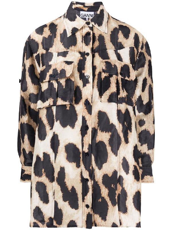 Ganni Leopard Print Linen & Silk A-line Tunic Shirt In Neutrals