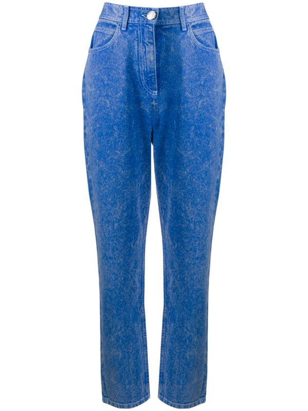 Balmain Acid Wash Boyfriend Jeans In Blue