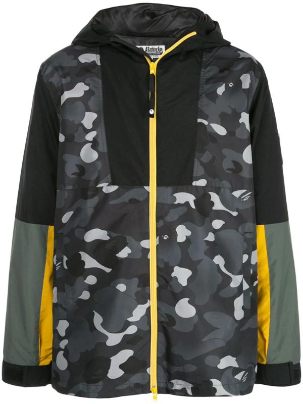 Bape Gradation Camo Hooded Jacket In Black