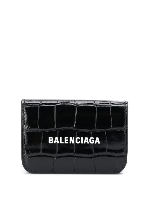 Balenciaga Cash Flap Croc-embossed Leather Wallet In Black