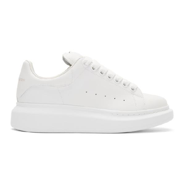 Alexander Mcqueen White Glitter Tab Oversized Sneakers In 9000 White