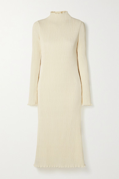 Danielle Frankel Adrienne Open-back Plissé Stretch-satin Midi Dress In White