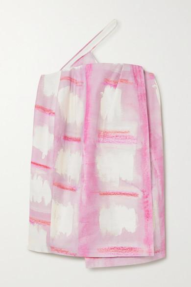 Jacquemus Asymmetric Printed Wrap-effect Woven Mini Dress In Pink