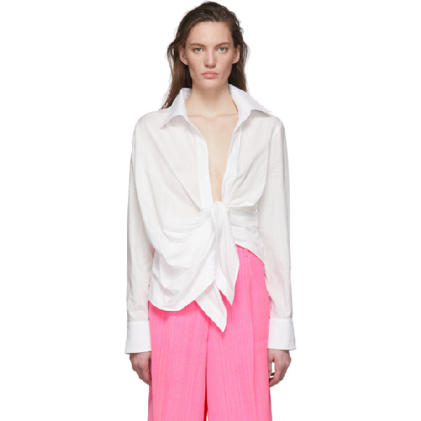 Jacquemus Bahia Tie-front Striped Cotton-jacquard Shirt In White