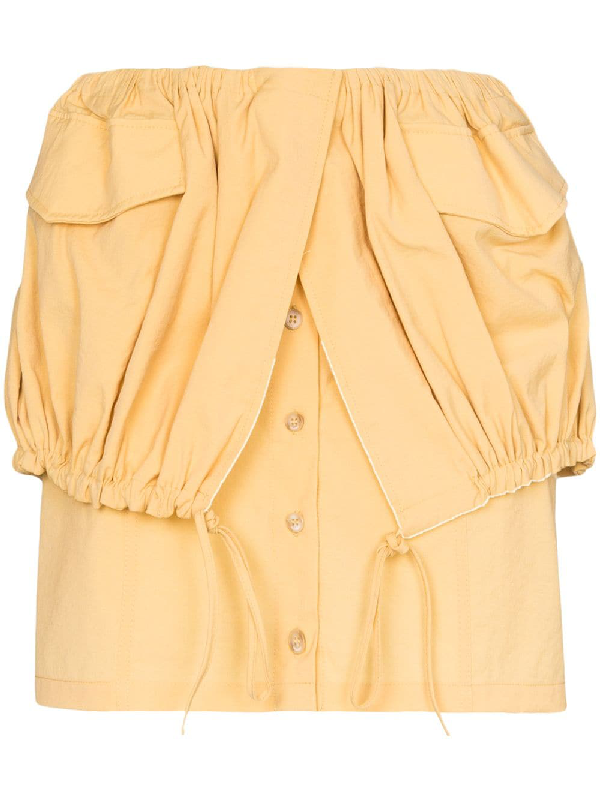 Jacquemus Cueillette Courte Layered Gathered Poplin Mini Skirt In Yellow