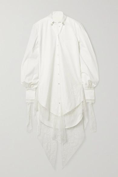 Danielle Frankel Naomi Lace-trimmed Poplin Shirt Dress In Ivory