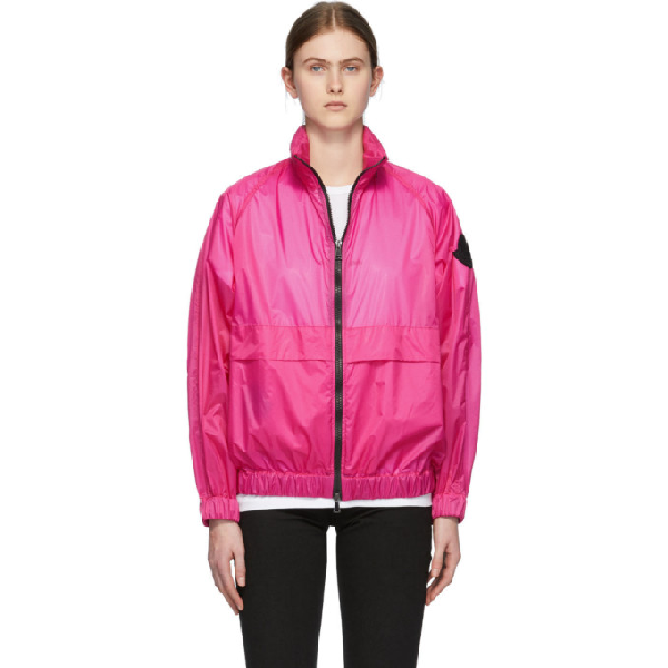 Moncler Logo Patch Lightweight Jacket In 547 Magenta