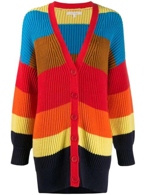 Chinti & Parker Rainbow Riviera Stripe Chunky Knit Cardigan In Blue