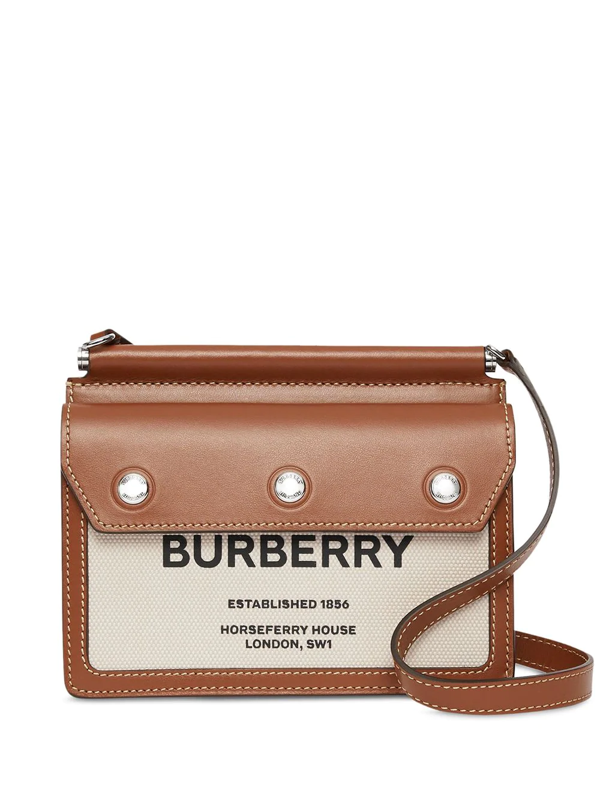 Burberry Mini Horseferry Print Leather And Canvas Title Bag In Brown