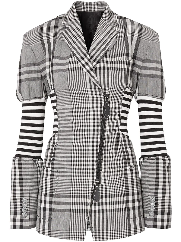 Burberry Corset Detail Check Technical Wool Blazer In Black
