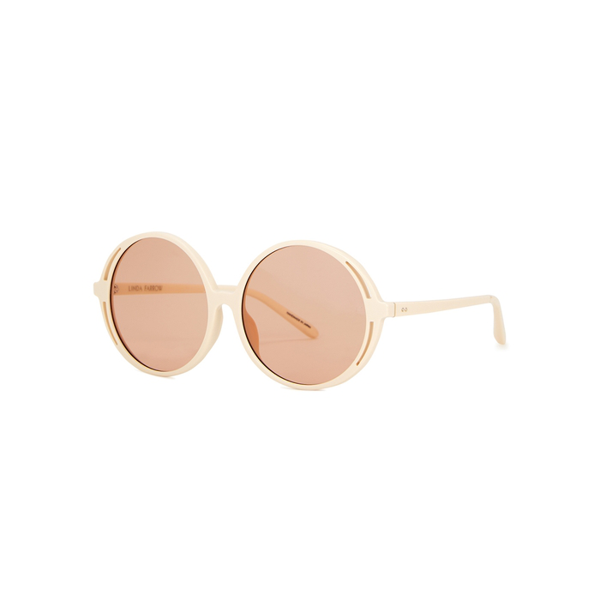 Linda Farrow Luxe Bianca Round-frame Sunglasses In Pink