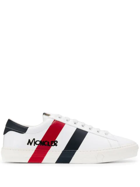 Moncler Men's Signature Stripe Leather Low-top Sneakers In White