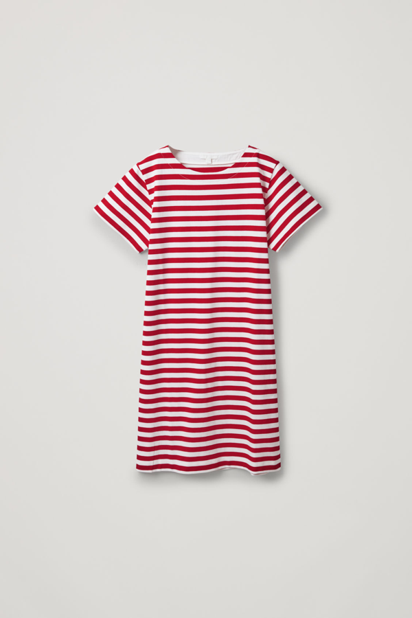 Cos Striped Cotton T-shirt Dress In Red