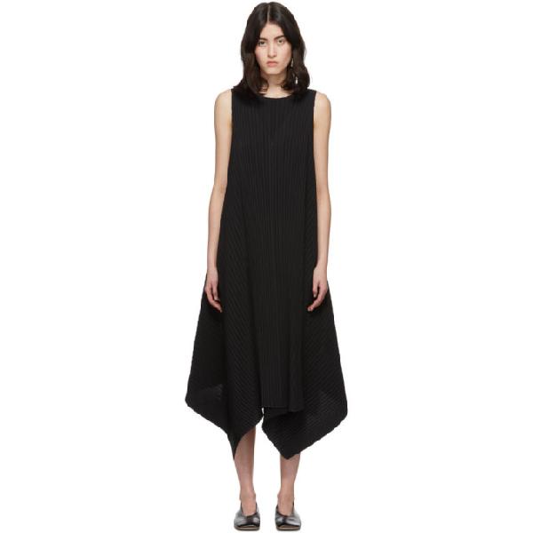 Issey Miyake Parasol Handkerchief-hem Pleated Voile Dress In 15 Black