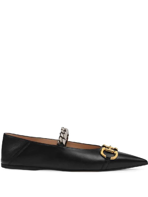 Gucci Deva Horsebit & Chain Convertible Pointed Toe Ballet Flat In Black