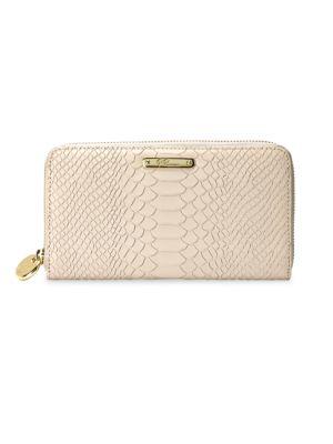 Gigi New York Women's Large Python-embossed Leather Zip-around Wallet In Almond