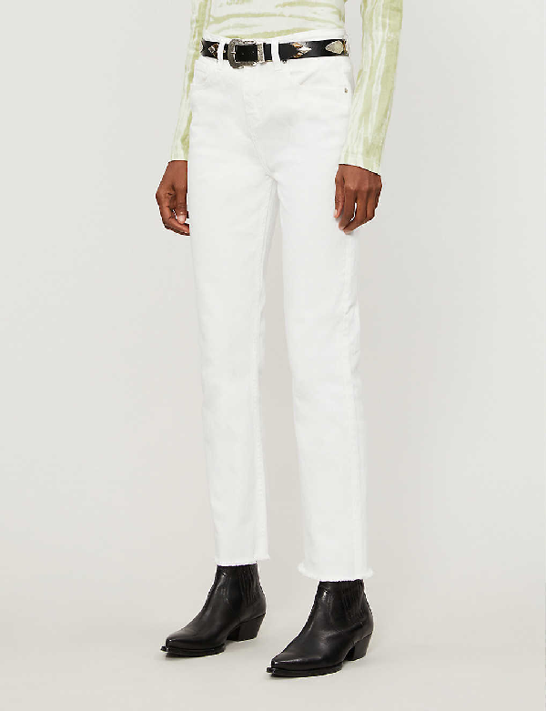 Maje Pachablanc Cropped High-waist Jeans In White