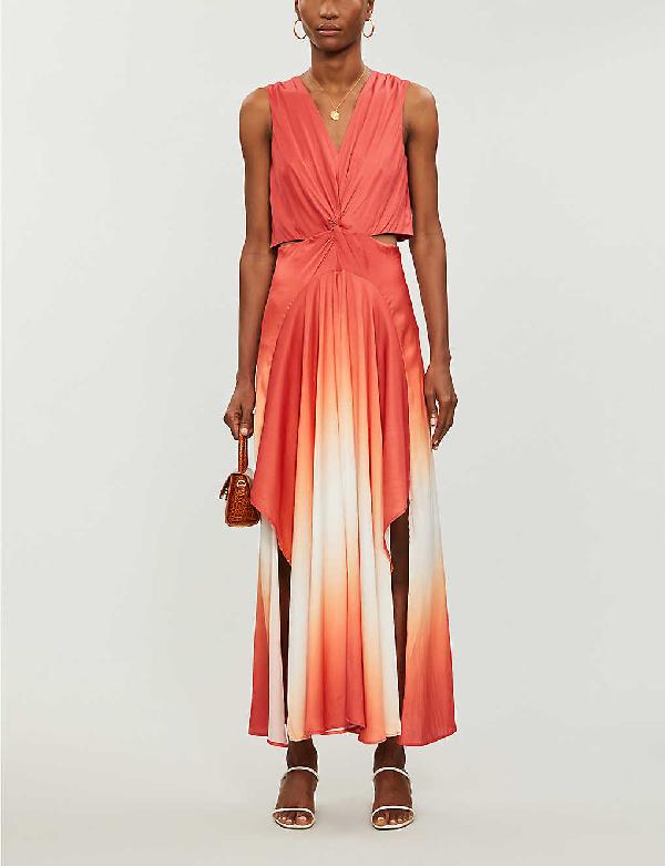 Maje Resia Sleeveless Ombre Maxi Dress In Terracota
