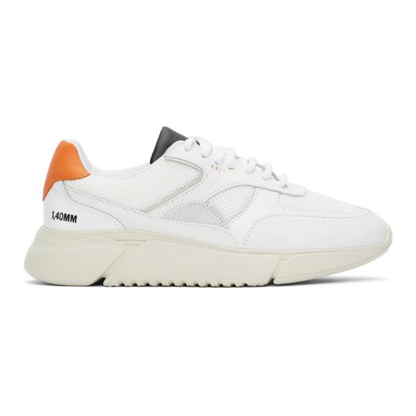 Axel Arigato White & Orange Genesis Triple Sneakers In Org/blk/grn