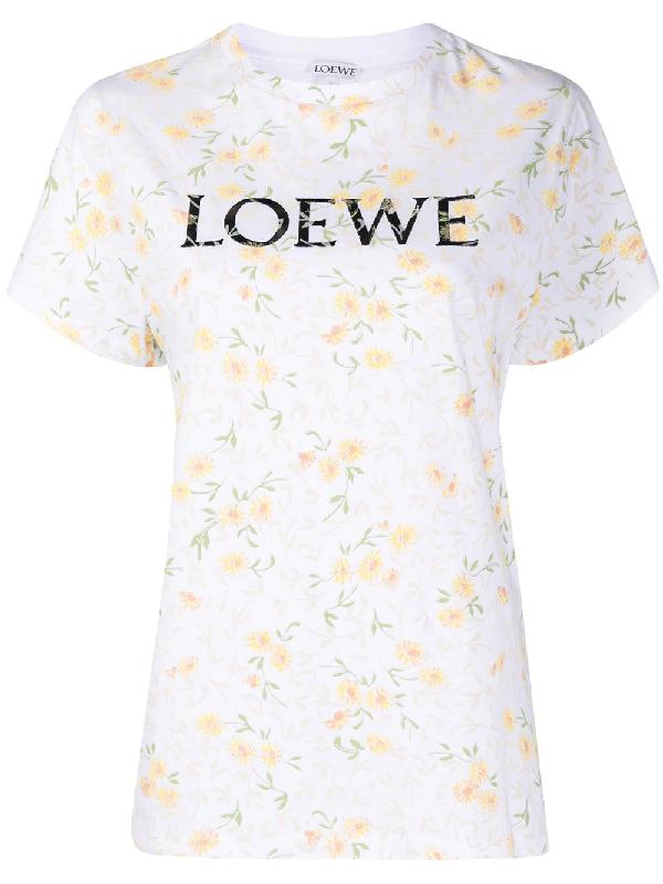 Loewe Floral Logo Cotton T-shirt In White