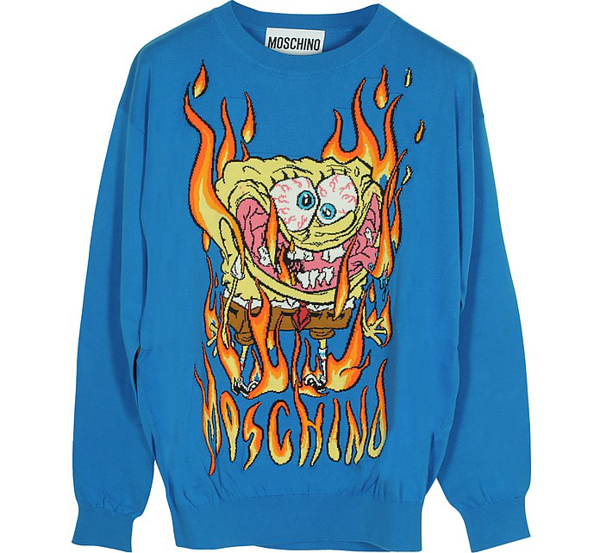 Moschino Brilliant Blue Embroidered Cotton Long Sleeve Men's Sweater