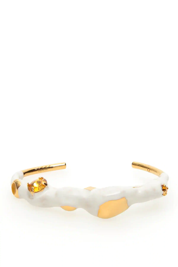 Marni Metal And Enamel Cuff Bracelet In White,gold