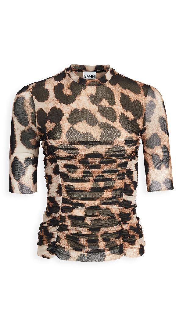 Ganni Printed Mesh Sweater 3/4s Crew Neck Animalier In Maxi Leopard