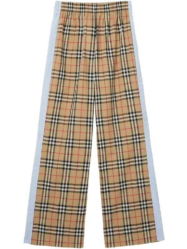 Burberry Vintage Check Stretch Cotton Trousers In Neutrals