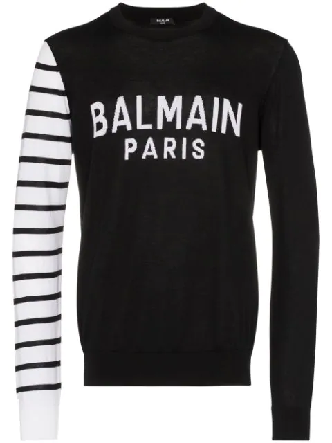Balmain Crew Neck Sweater With Logo And Striped Sleeve In Black