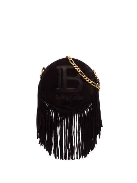 Balmain Disco Bag In Suede With Fringes And Monogram In Black