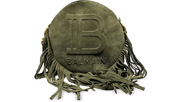 Balmain Disco Bag In Suede With Fringes And Monogram In Khaki