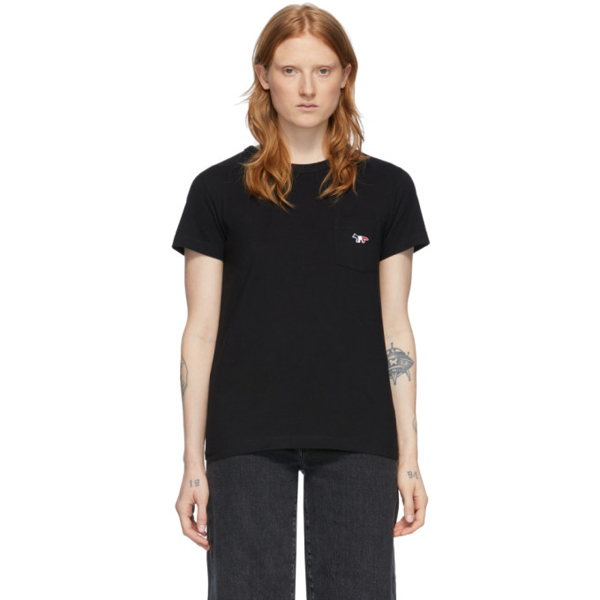 Maison Kitsuné Maison Kitsune Black Pocket T-shirt In Bk Black