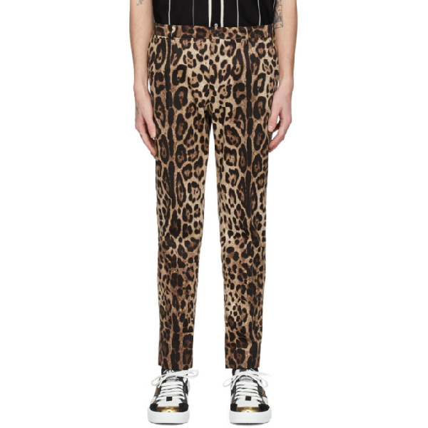 Dolce & Gabbana Dolce And Gabbana Brown Leopard Print Trousers In Hk13m