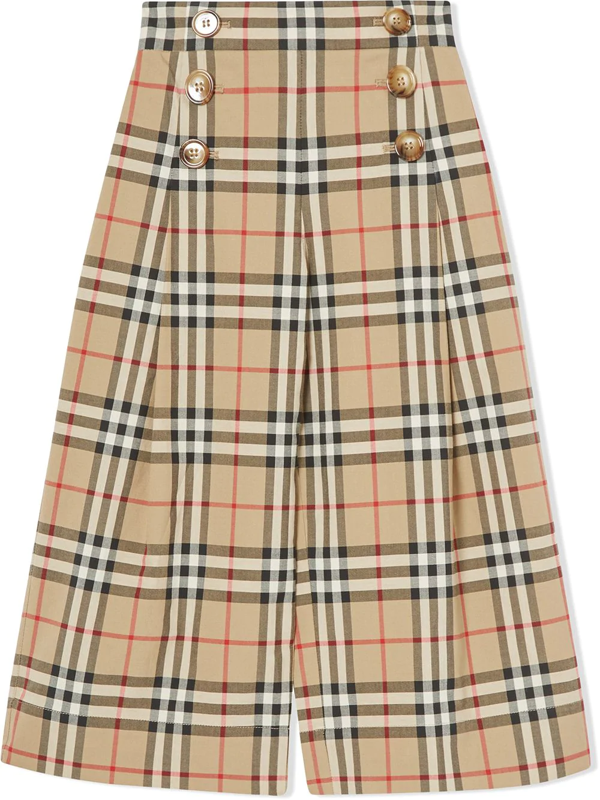 Burberry Kids' Vintage Check Sailor Trousers In Neutrals
