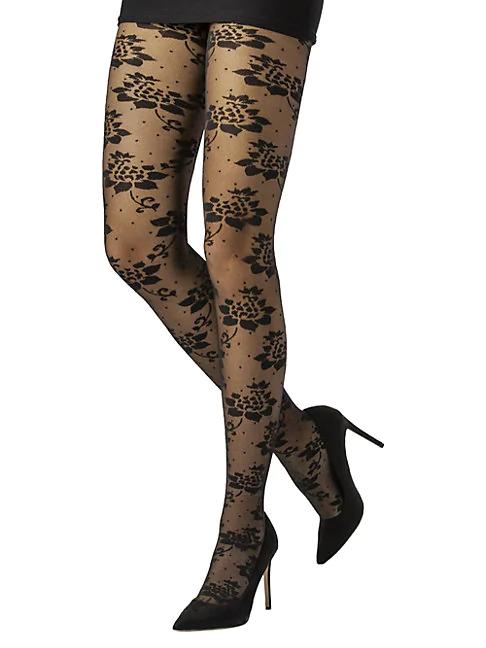 Emilio Cavallini Lotus Flower & Polka Dot Lace Tights In Black