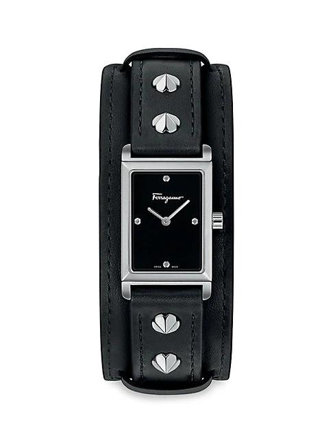 Salvatore Ferragamo Fiore Stainless Steel & Leather-strap Watch