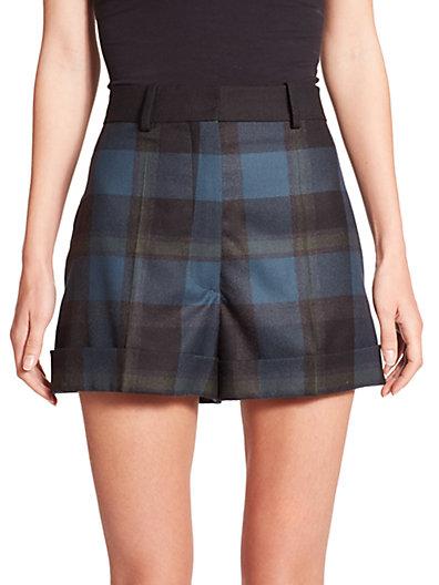 Sonia Rykiel Check Wool Shorts In Blue-multi