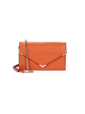 Saks Fifth Avenue Pebbled Leather Envelope Crossbody Bag In Eucalyptus