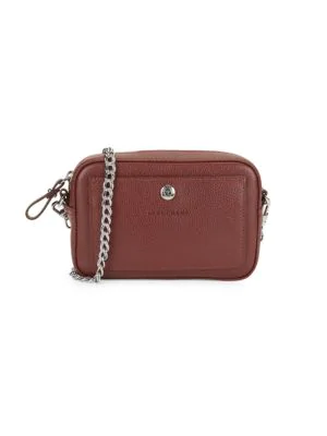 Longchamp Convertible Leather Crossbody Bag In Silver