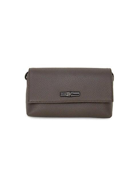Longchamp Mini Roseau Leather Crossbody Bag In Grey
