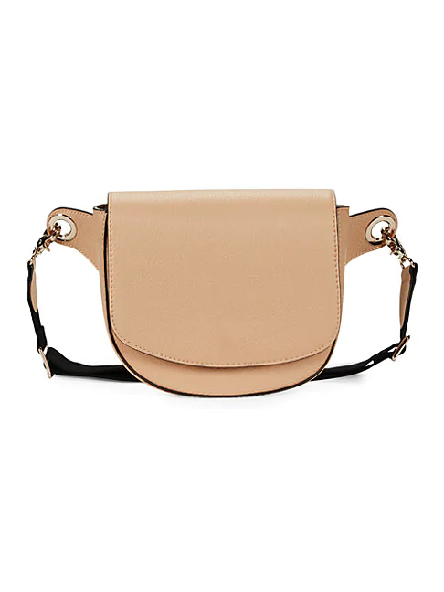 Saks Fifth Avenue Pebbled Leather Saddle Belt Bag In Nude
