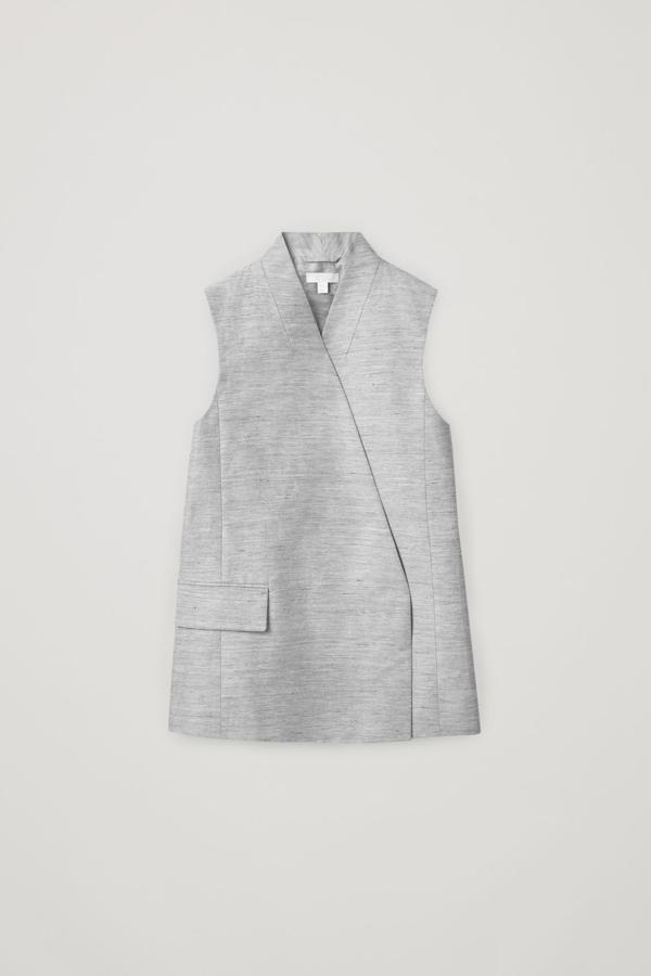 Cos Sleeveless Linen-mix Blazer In Grey