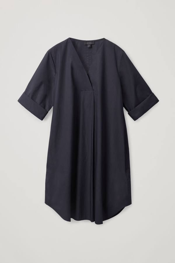 Cos A-line Dress With Pleat In Blue