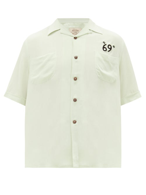 Holiday Boileau Camp-collar Embroidered Poplin Shirt In Light Green